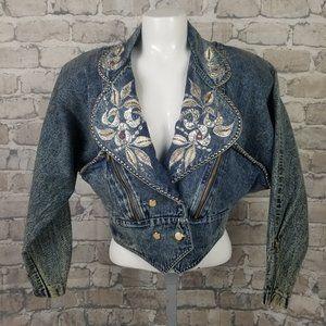 Vtg 80s Jazzino Bedazzled Acid Wash Denim Jacket